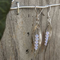 Silver Leaf with Opaque Pale Pink/Purple Swarovski crystals