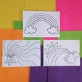 RAINBOW 10 Hard Copy A4 Colouring Pages and Custom Name Page