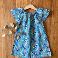dress - turquoise magpies / cotton peasant-style dress green / Australian birds