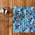 wash cloth - turquoise magpies / organic cotton hemp fleece / zero waste