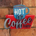 Retro Hot Coffee Shop Reclaimed Timber Sign