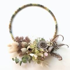 Native Garden - Dried flowers wall hanging hoop - Boho chic - Hydrangea - Nature