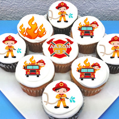 "Fireman Firetruck Pre-cut 2"" Edible Cupcake Toppers - Sheet of 15 - EI005C"