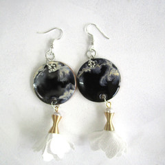Resin  Drop Tassel earrings ...Always Beautiful Black & White