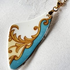 Vintage blue and gold  Pendant
