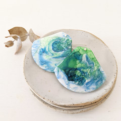 Free shipping! Eco resin earrings