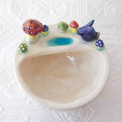 Mini Ceramic Planter with Rabbit and Toadstools
