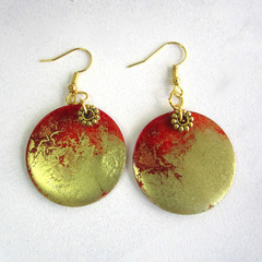 Resin  Drop earrings ...Always Beautiful Red & Gold