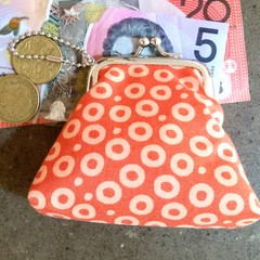 Orange circles coin purse
