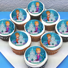 "Mermaid Under The Sea Pre-cut 2"" Edible Cupcake Toppers - Sheet of 15 - EI003C"