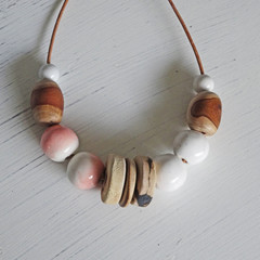 Necklace - Pink Blush - N323W. Pottery and wood.