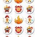 "Fireman Firetruck Pre-cut 2"" Edible Cupcake Toppers - Sheet of 15 - EI005C"