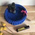 LARGE | Crochet basket | essential oils | storage basket | COBALT BLUE