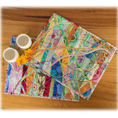 Mother's Day gifts. Reversible table mats. Set of 2. bright colourful