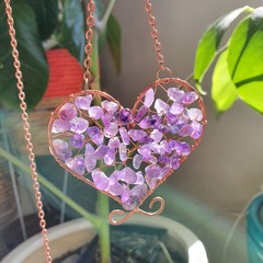 Amethyst Heart Suncatcher