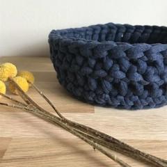 Crochet basket | essential oils | home decor | storage basket | DENIM NAVY BLUE