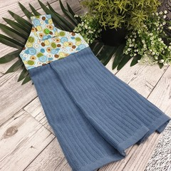 Button Fabric Hand Towel - Blue Green Retro Buttons