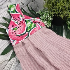 Button Fabric Hand Towel - Watermelon Vintage Pink Print