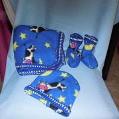 Polar Fleece Baby Blanket/ Baby Beanie and Booties