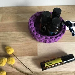 Crochet basket | essential oils | home decor | storage basket | PURPLE
