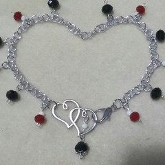"""Queen of Hearts"" Bag Charm Chain."
