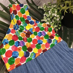Button Fabric Hand Towel - Rainbow Spot Bright Coloured Print