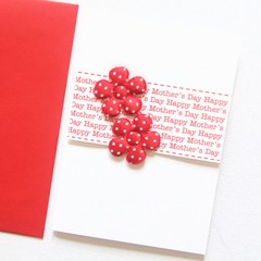 FREE POST | Happy Mother's Day Card | Red Fabric Flowers