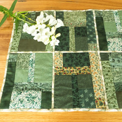 Patchwork table runner with feature quilting, reversible