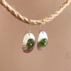 Sea glass domed dangles earrings