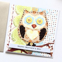 Mother's Day card | Patchwork Owl | Limited Edition | Mum Nanna Nanny Grandma