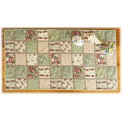 Mother's Day table runner or mat, roses, quilted, reversible.