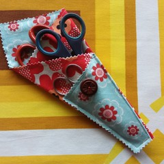 Handy Scissor Holder-Funky red and orange floral print