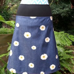 Denim Skirt with White Daisies & Bamboo Stretch Waist