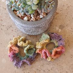 Crochet scrunchies - minis - set of 2 - cotton blend