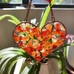 Carnelian Heart Suncatcher