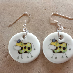 Porcelain Funky Cow Earrings