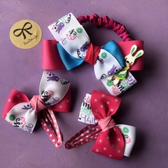 Girls / toddlers stunning handmade Easter bow hair tie & snap clip gift set 🐣