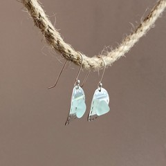 Sea glass domed dangles earrings