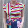 Zero Waste Layercake Tee - M Size, one-off rainbow cotton jersey crop t-shirt