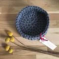 Crochet basket | essential oils | home decor | storage basket | SLATE GREY BLUE