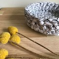 Crochet basket   essential oils   home decor   storage basket   BLACK AND WHITE