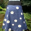 Denim Skirt with White Daisies & Bamboo Stretch Waist