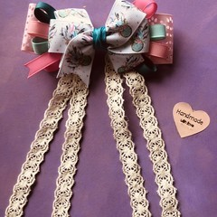 Girls / toddlers handmade Dream catcher inspired Alligator bow clip