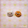 Adventure Time stud earrings - Hand-sculpted Finn & Jake