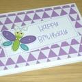 Girls Happy Birthday card - cute butterfly