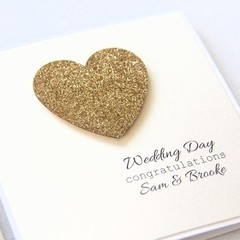 Personalised Anniversary Wedding Engagement Card | Custom Made | Gold Heart