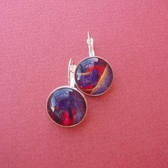 Jewel- painted eardrop in sterling
