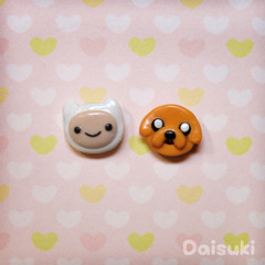 Adventure Time stud earrings - Hand-sculpted Finn & Jake