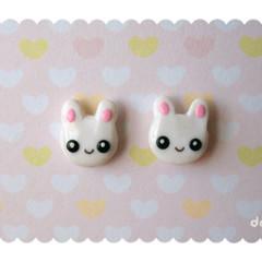 Cute Bunny Stud Earrings - Easter - Kawaii Hand-sculpted