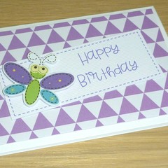 Girls Happy Birthday card - cute butterfly